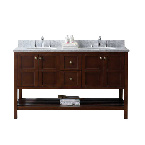 "Virtu USA Winterfell 60"" Double Bathroom Vanity with Marble Top and Round Sink"