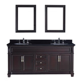 "Virtu USA Victoria 72"" Double Bathroom Vanity w/ Black Granite Top, Sink, Mirror"