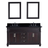 "Virtu USA Victoria 60"" Double Bathroom Vanity w/ Black Granite Top, Sink, Mirror"