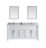 "Virtu USA Victoria 72"" Double Bathroom Vanity w/ Round Sink, Faucet, Mirror"