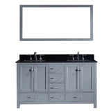 "Virtu USA Caroline Avenue 60"" Double Bathroom Vanity w/ Sink, Faucet, Mirror"