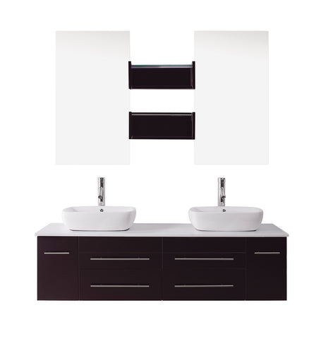 "Virtu USA Augustine 59"" Double Bathroom Vanity w/ Sink, Faucet, Mirror"