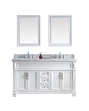 "Virtu USA Victoria 60"" Double Bathroom Vanity w/ Square Sink, Faucet, Mirror"