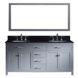 "Virtu USA Caroline 72"" Double Bathroom Vanity w/ Sink, Faucet, Mirror"