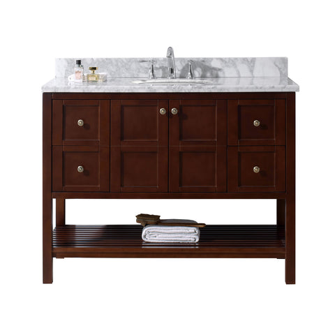 "Virtu USA Winterfell 48"" Single Bathroom Vanity with Marble Top and Round Sink"