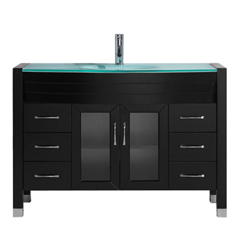 "Virtu USA Ava 48"" Single Bathroom Vanity w/ Glass Top, Sink, Chrome Faucet"