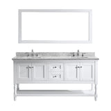 "Virtu USA Julianna 72"" Double Bathroom Vanity w/ Marble Top, Square Sink, Mirror"