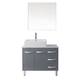 "Virtu USA Tilda 36"" Single Bathroom Vanity w/ Sink, Chrome Faucet, Mirror"