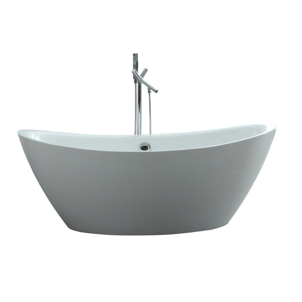 "Virtu USA Serenity 71"" x 34.64"" Bathroom Freestanding Acrylic Soaking Bathtub"