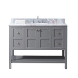 "Virtu USA Winterfell 48"" Single Bathroom Vanity w/ Round Sink, Mirror"