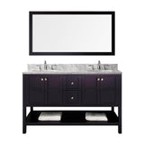 "Virtu USA Winterfell 60"" Double Bathroom Vanity w/ Round Sink, Faucet, Mirror"