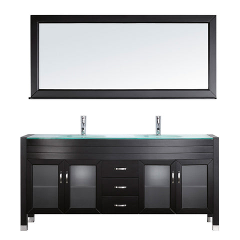 "Virtu USA Ava 71"" Double Bathroom Vanity w/ Aqua Glass Top, Sink, Faucet, Mirror"