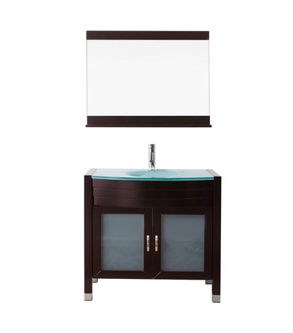 "Virtu USA Ava 36"" Single Bathroom Vanity w/ Aqua Glass Top, Sink, Faucet, Mirror"