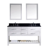 "Virtu USA Caroline Estate 60"" Double Bathroom Vanity w/ Sink, Faucet, Mirror"