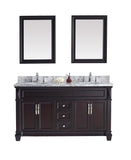 "Virtu USA Victoria 60"" Double Bathroom Vanity w/ Sink, Chrome Faucet, Mirror"