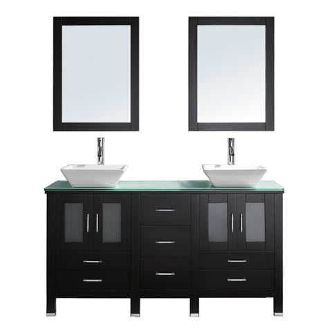 "Virtu USA Bradford 60"" Double Bathroom Vanity w/ Glass Top, Sink, Faucet, Mirror"