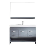 "Virtu USA Gloria 48"" Single Bathroom Vanity w/ Sink, Chrome Faucet, Mirror"