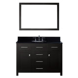 "Virtu USA Caroline 48"" Single Bathroom Vanity w/ Black Granite Top, Sink, Mirror"