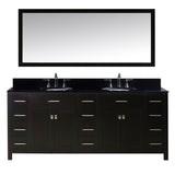 "Virtu USA Caroline Parkway 78"" Double Bathroom Vanity w/ Sink, Faucet, Mirror"
