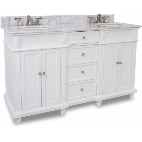 "Elements 60"" Douglas Double Vanity Set in White or Black- VAN094D-60-T-MW - Bath Vanity Plus"