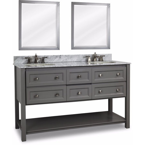 "Elements 60"" Gray Adler Double Vanity Set with Optional Mirrors - VAN088D-60-T-MW - Bath Vanity Plus"