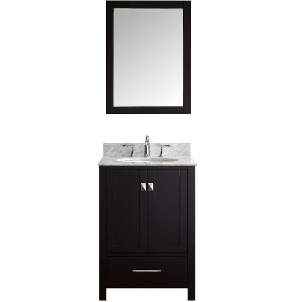 "Eviva Aberdeen 24"" Transitional Espresso Bathroom Vanity Set - EVVN412-24ES - Bath Vanity Plus"