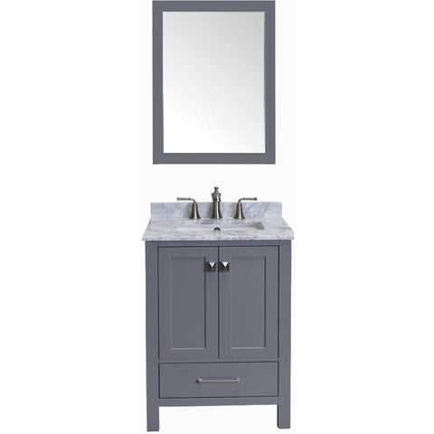 "Eviva Aberdeen 24"" Transitional Gray Bathroom Vanity Set - EVVN412-24GR - Bath Vanity Plus"