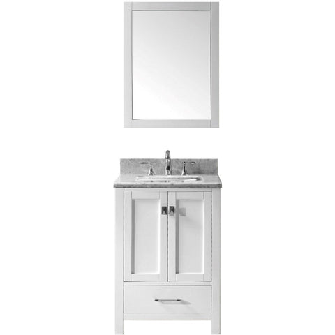 "Eviva Aberdeen 24"" Transitional White Bathroom Vanity Set - EVVN412-24WH - Bath Vanity Plus"
