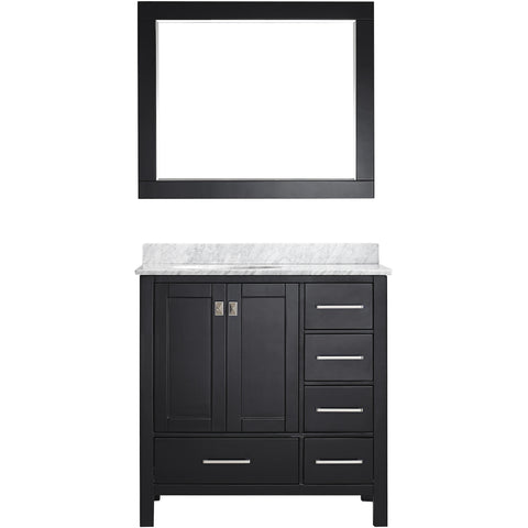 "Eviva Aberdeen 36"" Transitional Espresso Bathroom Vanity Set - EVVN412-36ES - Bath Vanity Plus"