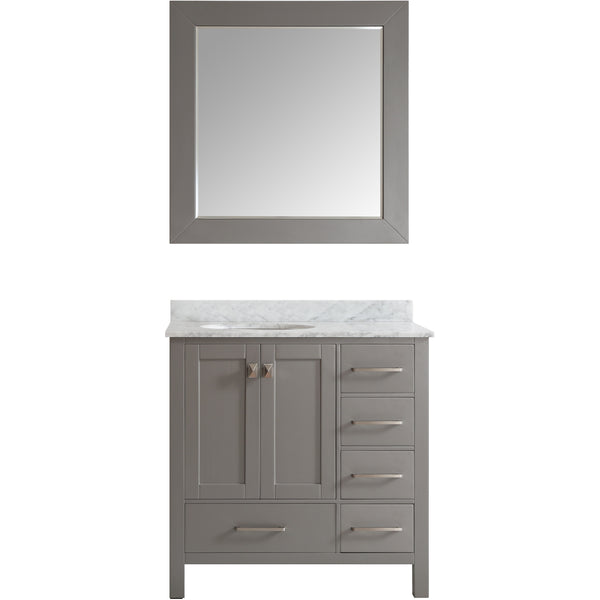 "Eviva Aberdeen 36"" Transitional Gray Bathroom Vanity Set - EVVN412-36GR - Bath Vanity Plus"