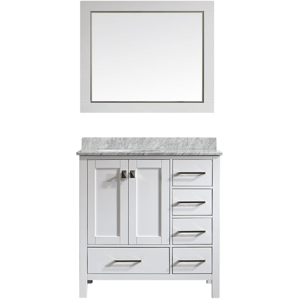 "Eviva Aberdeen 36"" Transitional White Bathroom Vanity Set - EVVN412-36WH - Bath Vanity Plus"
