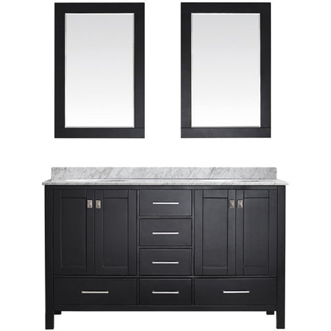 "Eviva Aberdeen 60"" Transitional Espresso Double Sink Vanity Set - EVVN412-60ES - Bath Vanity Plus"
