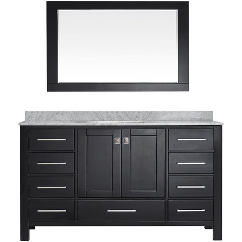"Eviva Aberdeen 60"" Transitional Espresso Single Sink Vanity Set - EVVN412-60ES-SS - Bath Vanity Plus"