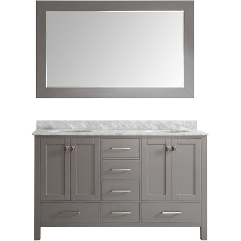 "Eviva Aberdeen 60"" Transitional Gray Double Sink Vanity Set - EVVN412-60GR - Bath Vanity Plus"
