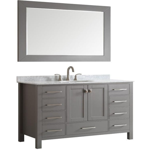 "Eviva Aberdeen 60"" Transitional Gray Single Sink Vanity Set - EVVN412-60GR-SS - Bath Vanity Plus"