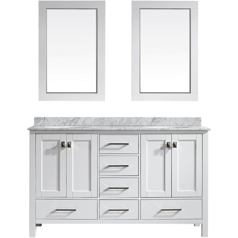 "Eviva Aberdeen 60"" Transitional White Double Sink Vanity Set - EVVN412-60WH - Bath Vanity Plus"