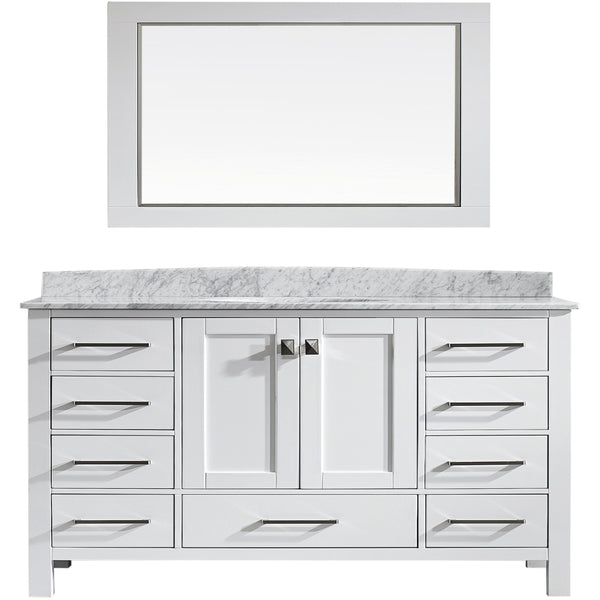 "Eviva Aberdeen 60"" Transitional White Single Sink Vanity Set - EVVN412-60WH-SS - Bath Vanity Plus"