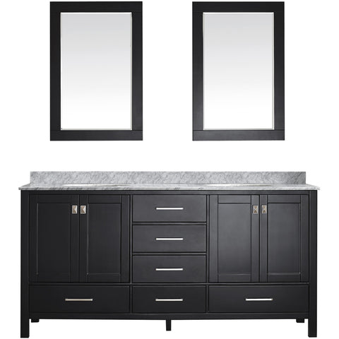 "Eviva Aberdeen 72"" Transitional Espresso Double Sink Vanity Set - EVVN412-72ES - Bath Vanity Plus"
