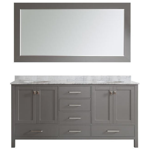 "Eviva Aberdeen 72"" Transitional Gray Double Sink Vanity Set - EVVN412-72GR - Bath Vanity Plus"