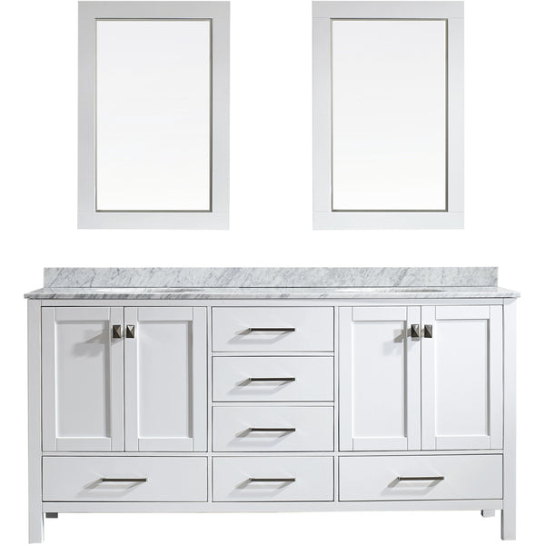 "Eviva Aberdeen 72"" Transitional White Double Sink Vanity Set - EVVN412-72WH - Bath Vanity Plus"