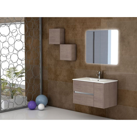 "Eviva Aries® 32"" Medium Oak Wall-Mount Modern Bathroom Vanity Set - EVVN533-32MOK - Bath Vanity Plus"