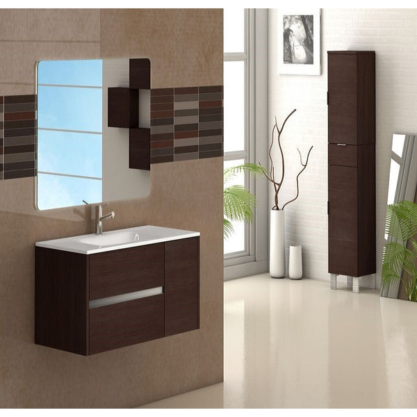 "Eviva Aries® 32"" Wenge Wall-Mount Modern Bathroom Vanity Set - EVVN533-32WG - Bath Vanity Plus"