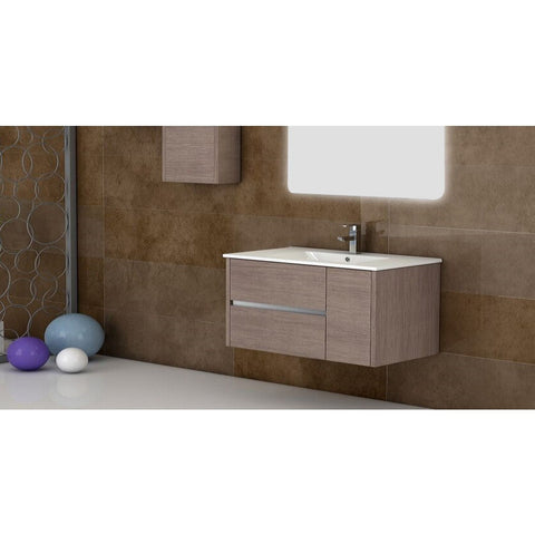 "Eviva Aries® 39"" Medium Oak Wall-Mount Modern Bathroom Vanity Set - EVVN533-39MOK - Bath Vanity Plus"