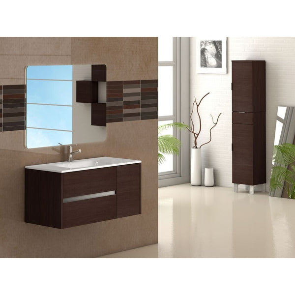 "Eviva Aries® 39"" Wenge Wall-Mount Modern Bathroom Vanity Set - EVVN533-39WG - Bath Vanity Plus"