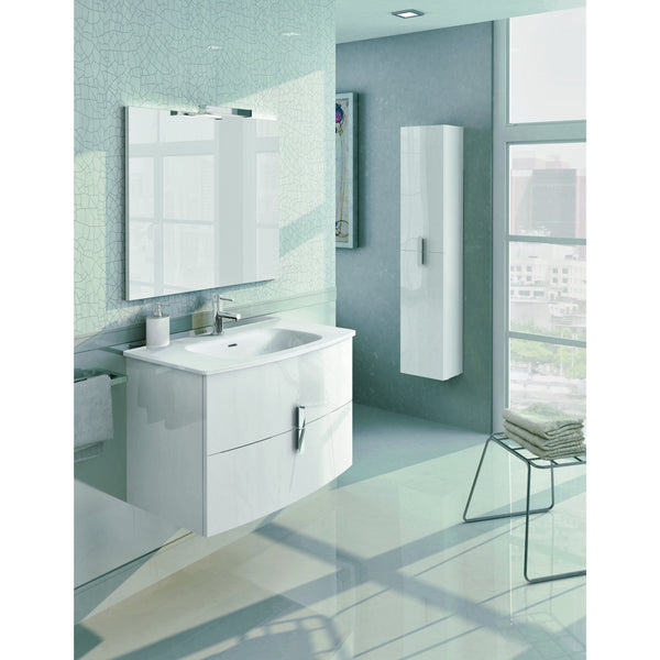 "Eviva Cali 31"" White Wall-Mount Bathroom Vanity Set - EVVN32-31WH-Round - Bath Vanity Plus"