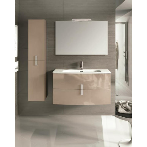 "Eviva Cali 39"" Light Brown Wall-Mount Bathroom Vanity Set - EVVN32-39TP-Round - Bath Vanity Plus"