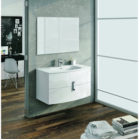 "Eviva Cali 39"" White Wall-Mount Bathroom Vanity Set - EVVN32-39WH-Round - Bath Vanity Plus"