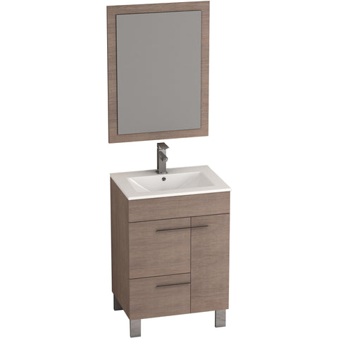 "Eviva Cup® 24"" Medium Oak Modern Bathroom Vanity Set - EVVN521-24MOK - Bath Vanity Plus"
