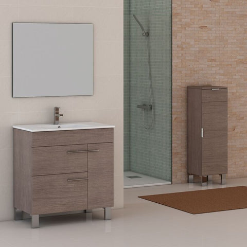 "Eviva Cup® 31.5"" Medium Oak Modern Bathroom Vanity Set - EVVN521-32MOK - Bath Vanity Plus"