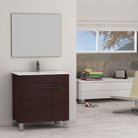 "Eviva Cup® 31.5"" Wenge Modern Bathroom Vanity Set - EVVN521-32WG - Bath Vanity Plus"